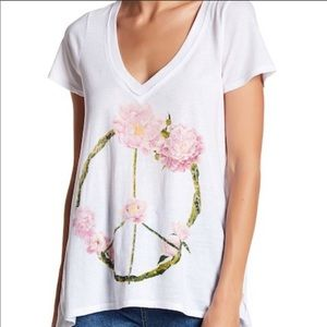 Chaser Floral Peace Tee Burnout Top